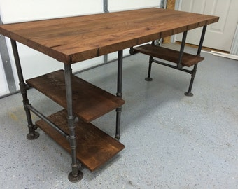 Bon Computer Desk, Reclaimed Wood Desk, Office Desk, Table, Rustic Barnwood  Table With 3 Shelves