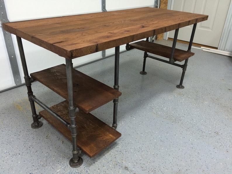 Superb Computer Desk Reclaimed Wood Desk Office Desk Table Rustic Barnwood Table With 3 Shelves Download Free Architecture Designs Estepponolmadebymaigaardcom