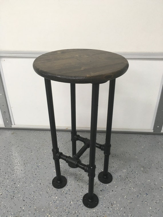 Superb Bar Stool Bar Chair Stand W Industrial Black Pipe Legs Your Choice Of Stain Use As A Chair Stand Bar Stool Stepping Stool Creativecarmelina Interior Chair Design Creativecarmelinacom