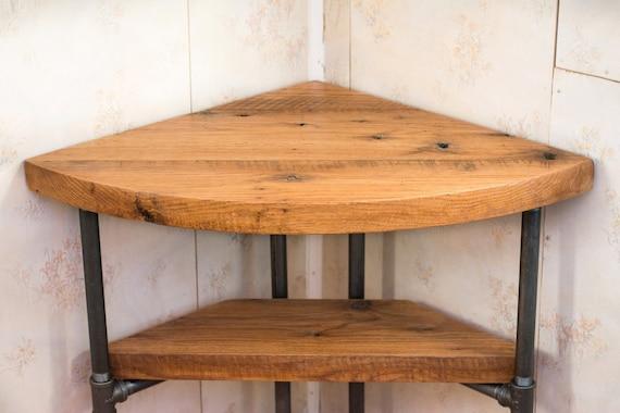 Reclaimed Wood Corner Table Desk Solid Oak W/ 26 Black | Etsy