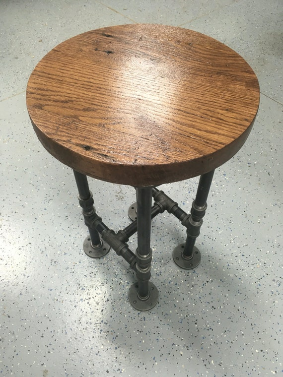 Prime Bar Stool Rustic Handmade Oak Round W Industrial Black Pipe Legs Use As A Chair Stand Bar Stool Stepping Stool Creativecarmelina Interior Chair Design Creativecarmelinacom