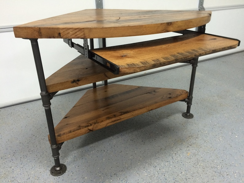Reclaimed Wood Corner Table Desk  Solid Oak W/ Black Iron Pipe Legs.