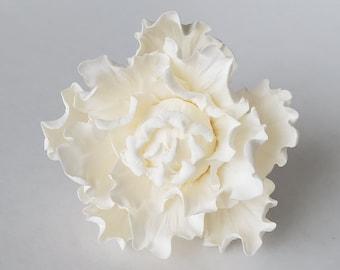 """White Sugar Peony Medium 4"""", White Gumpaste Peony Medium, Sugar Flower, Gumpaste Flower"""