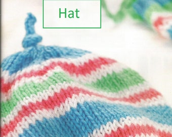 Instant Download - PDF-  Pretty Baby Hat and Mitt Set Knitting Pattern (80)