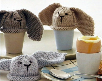 Instant Download - PDF- EASY and so Cute these Bunny Egg Cosies Knitting Pattern (H11)