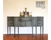 NEW Tall antique buffet sideboard cabinet table - dark grey gray federal style large server credenza - classic solid wood with tall legs