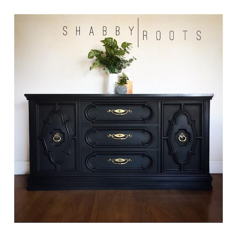 sold vintage black gold buffet cabinet sideboard etsy rh etsy com