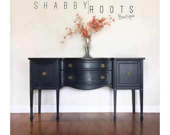 SOLD  Gorgeous Antique Buffet Sideboard U2022 Leggy Federal Bowfront  Black  Charcoal With Wood Top