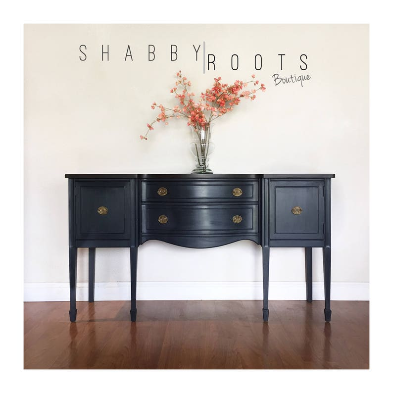 Outstanding Sold Gorgeous Antique Buffet Sideboard Leggy Federal Bowfront Black Charcoal With Wood Top Deep Blue Undertones San Francisco Bay Area Interior Design Ideas Helimdqseriescom