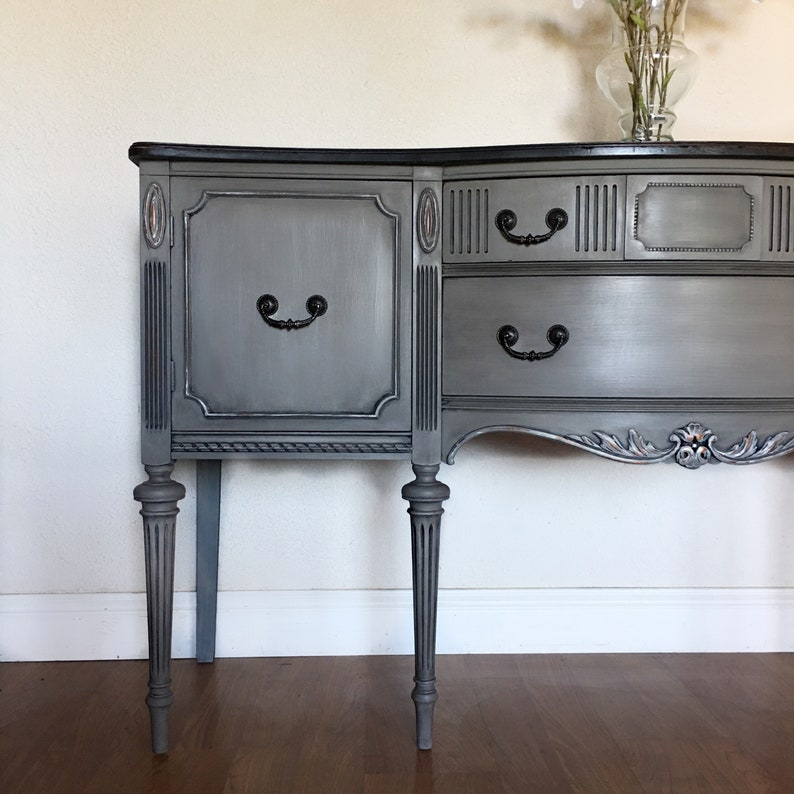 SOLD  Antique Buffet Sideboard Cabinet With Tall Legs. Grey And Black  Distressed. Shabby Chic French Country Home. San Francisco, California
