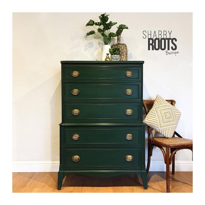 c3cdf7a7ca08 SOLD Emerald Green tall dresser-vintage antique solid wood