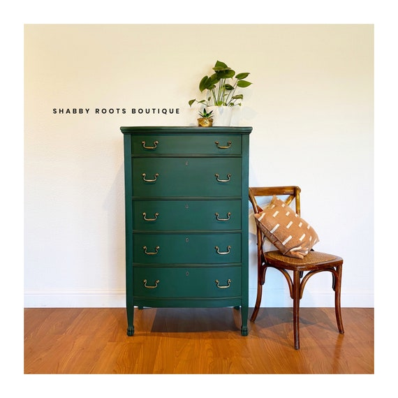 Sold Tall Antique Emerald Green Dresser Chest Of Drawers Narrow And Slender San Francisco Bay Area