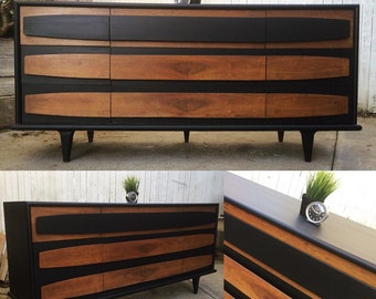 SOLD- Mid century modern vintage long dresser by American of martinsville MCM retro. Black and walnut San Francisco