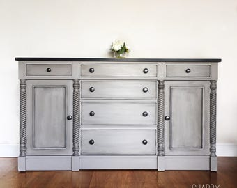 SOLD- Beautiful Antique buffet cabinet sideboard credenza. Solid wood with Grey and black with white trim. San Francisco Bay Area California