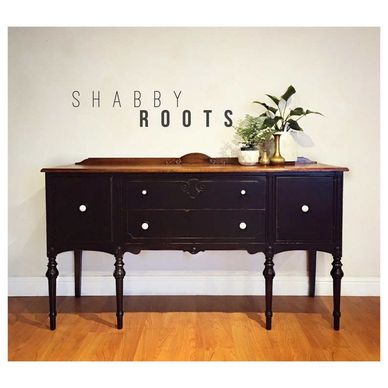 Amazing Sold Black Antique Buffet Sideboard Cabinet Distressed Modern Farmhouse With Rustic Wood Top San Francisco Bay Area Interior Design Ideas Helimdqseriescom