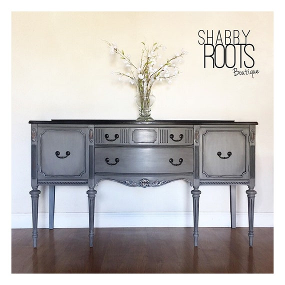 Sold Antique Buffet Sideboard Cabinet With Tall Legs Grey Etsy