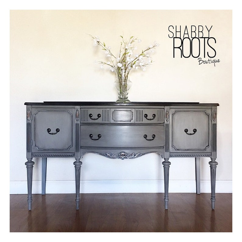Pleasing Sold Antique Buffet Sideboard Cabinet With Tall Legs Grey And Black Distressed Shabby Chic French Country Home San Francisco California Interior Design Ideas Helimdqseriescom
