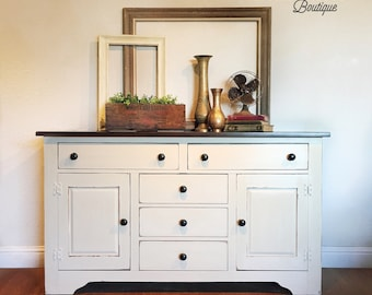 SOLD- Farmhouse Buffet sideboard - classic off white with wood top - rustic shabby chic finish - San Francisco Bay Area California