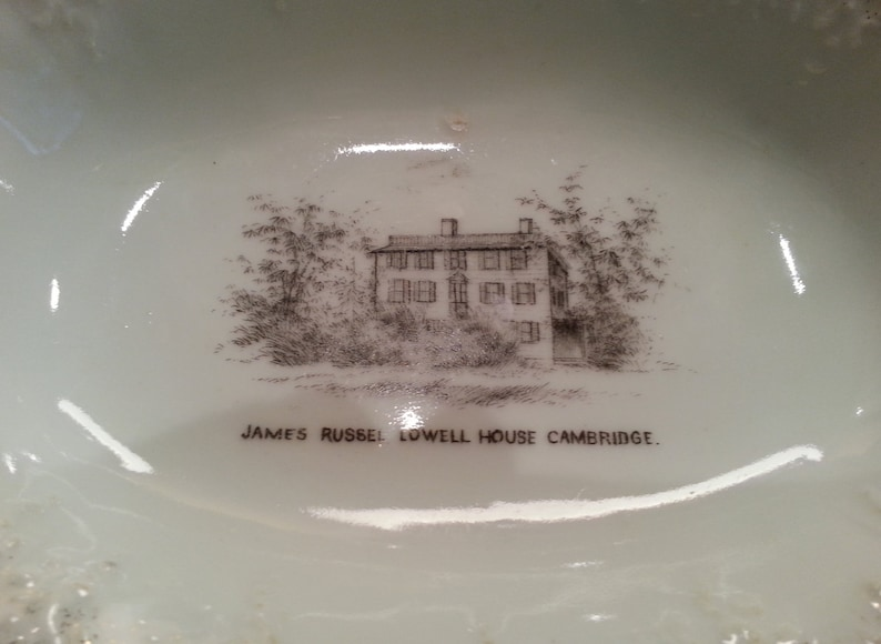 RARE Collectible Vintage Carlsbad Oval Souvenir Dish James Russell Lowell House Cambridge