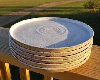Handmade Pottery Dinner Plates Speckled White Wheel Thrown Stoneware Dinnerware & Handmade dinnerware | Etsy