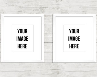 Download Free Frame Mockup Digital Frames double two empty space transparent center stock photo display wall art INSTANT DOWNLOAD wood background white PSD Template