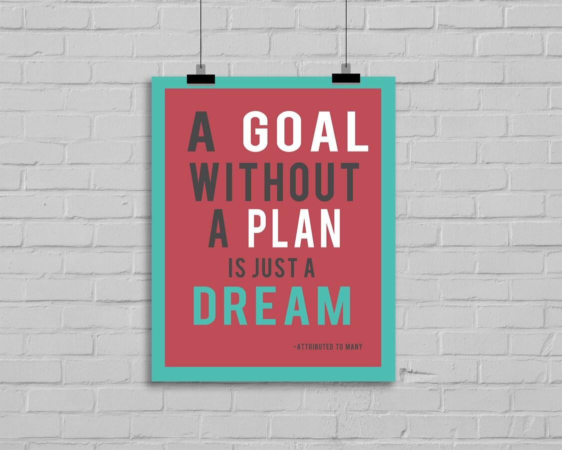Una meta sin un Plan es sólo un sueño citar imprimible | Etsy