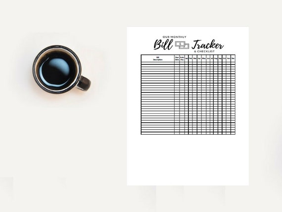 monthly bill tracker printable bill tracker spreadsheet budget etsy