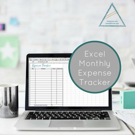 Expense Tracker Excel Spreadsheet Expense Tracker Bill Etsy