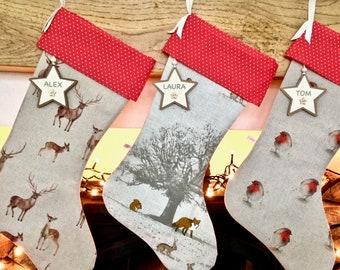 Christmas Stocking, Xmas Stocking, Reindeer Christmas Stocking, Forest Stocking, Robin Christmas Stocking, Personalised Stocking, Wildlife