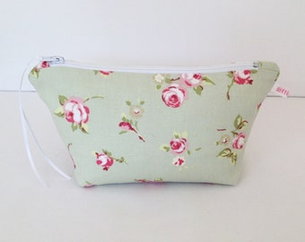 Make Up Bag, Sage Rosebud Make Up Bag, Cosmetic Bag, Floral Pouch, Handbag Tidy, Hair Accessories Bag, Pouch, Purse, Floral Purse, Gift