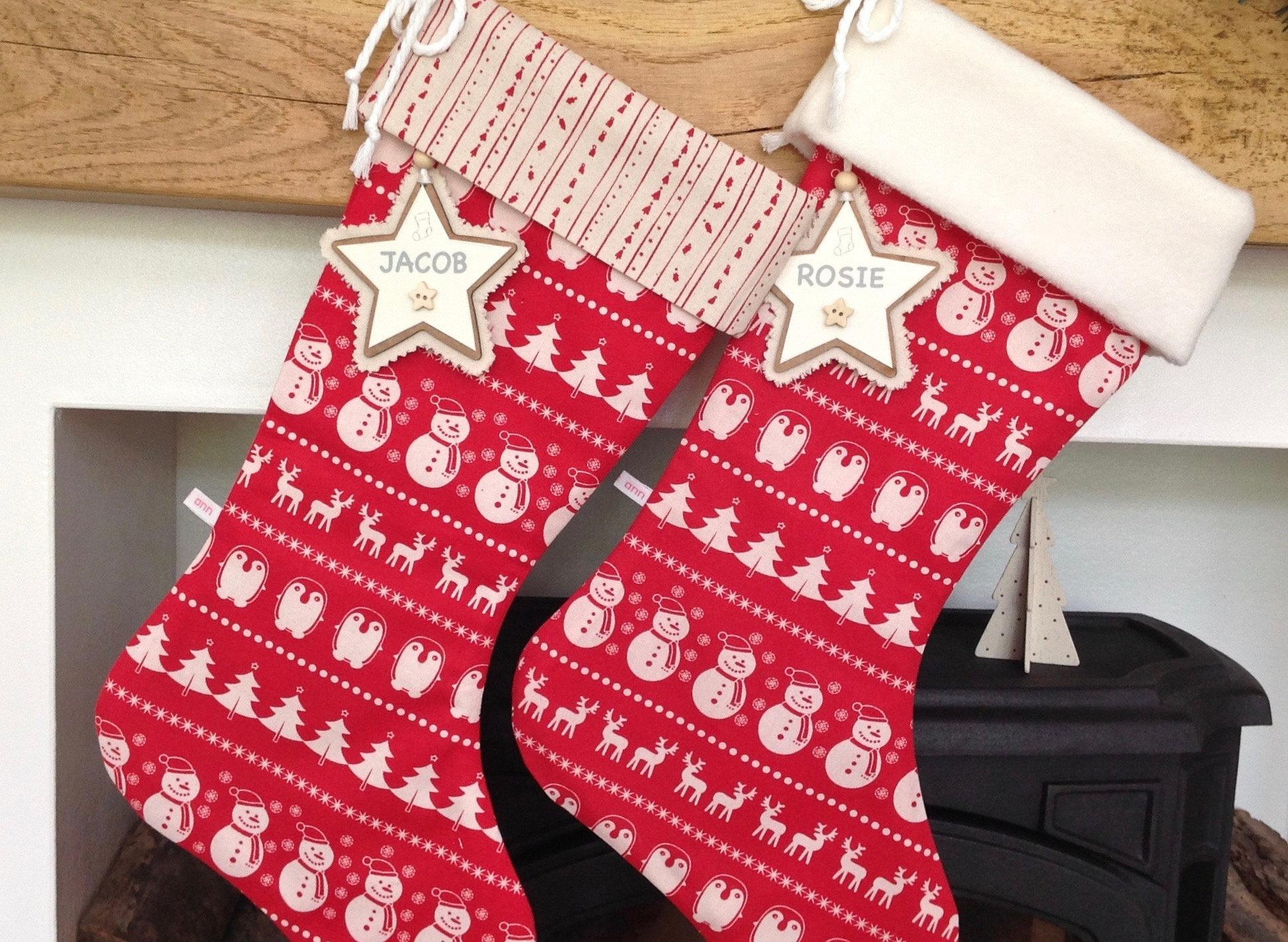 Christmas Stocking Red Scandinavian Stocking Personalised | Etsy