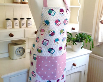 Apron, Owls Ladies' Apron, Owls and Pink Dotty Apron, Adjustable Full Apron, Women's Apron, Kitchen, Baking, Gift for Her