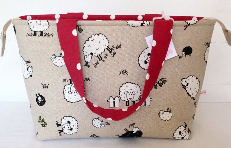 Tote Bag Sheep & Red Dotty Zippered Bag Medium Tote Bag image 0