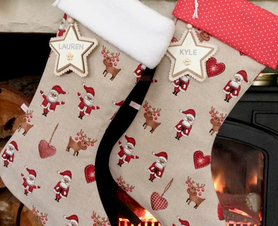 Rudolph Personalised Christmas Stocking Printed Xmas Hessian Sock Boot