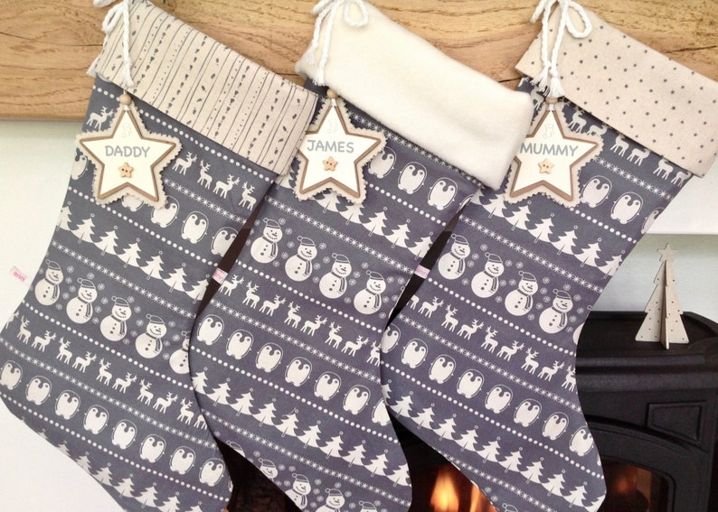 Personalised Christmas Stockings Luxury Christmas Stockings Christmas Stocking Grey Scandinavian Stockings *FREE NAME TAG!* Holidays
