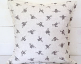 "Cushion Cover, Bees Cushion Cover 16"" 18"" 20"", Pillow Case, Scatter Pillow, Bees Cushion, Linen Cushion, Bees, Scatter Cushion, Cushions"