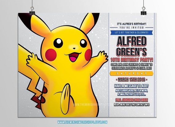 Pokemon Pikachu Birthday Invitations Kids Invites