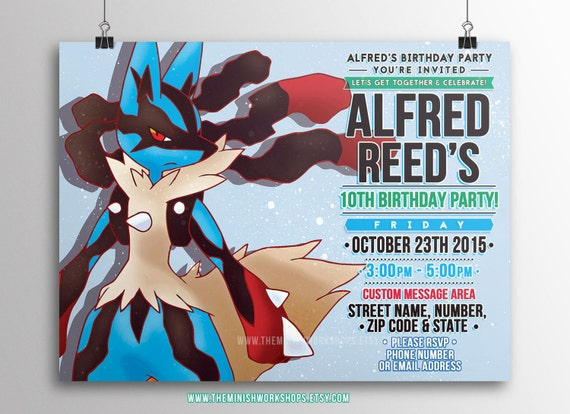 Kids Party Invitation Pokemon Lucario Printable Invitations