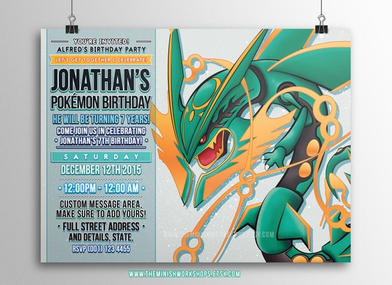 Kids Party Invite Invitation Pokemon Invitations
