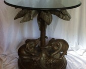 Vintage Cast Elephant Palm Tree Table Glass Top Mid Century Maitland Smith Bombay Company Gorgeous, Free Pick Up or You Ship See Details