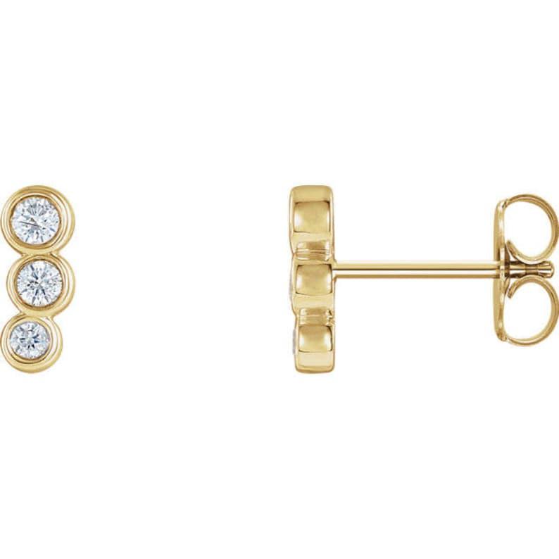 Any Color 14K Gold Dainty Ear Climber Stud Earrings
