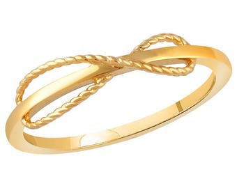 Any Color 14K Gold Infinity Bow Ring