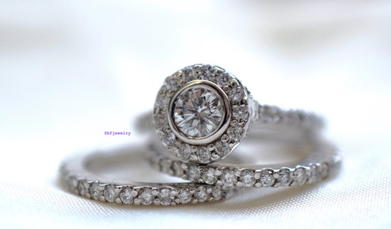 14k White Gold 1 60 Carat Round Diamond 3 Piece Bridal Wedding Set