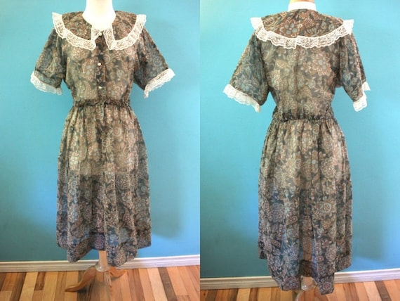 80's Dress 1980's Cottage Core Sheer Floral Day Dr