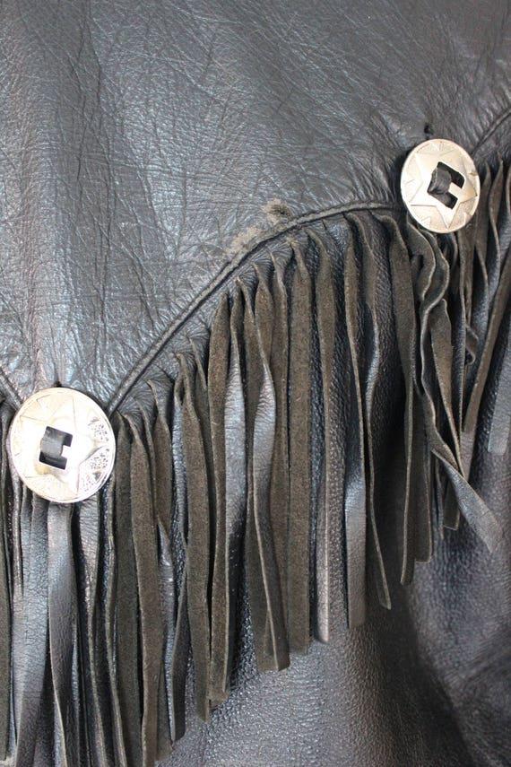 80's Leather Jacket    80's Black Fringed Leather… - image 9
