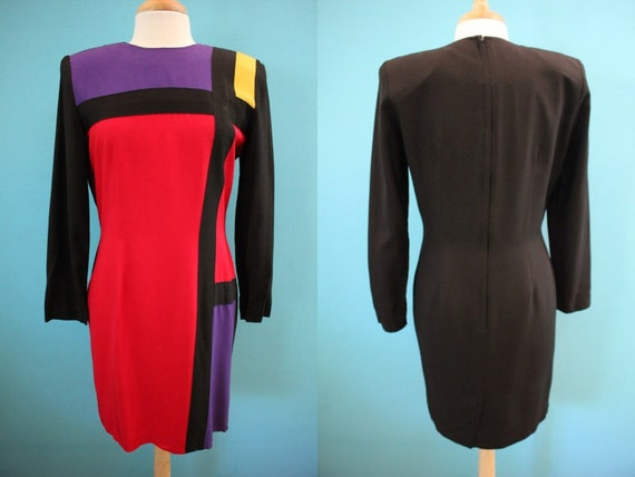 90's Dress 90's Color Block Mondrian Style Sheath