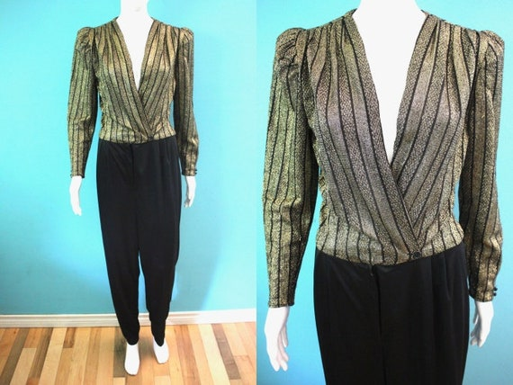 80's Jumpsuit 1980's Black And Gold Silky Poly Jum