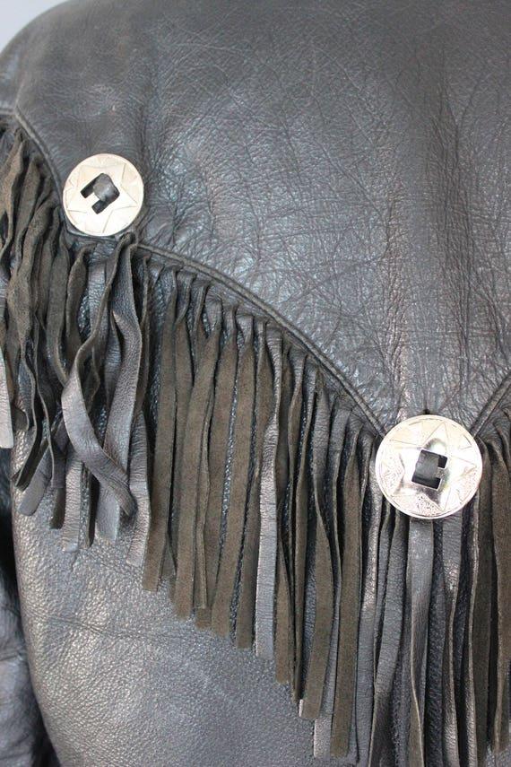80's Leather Jacket    80's Black Fringed Leather… - image 8