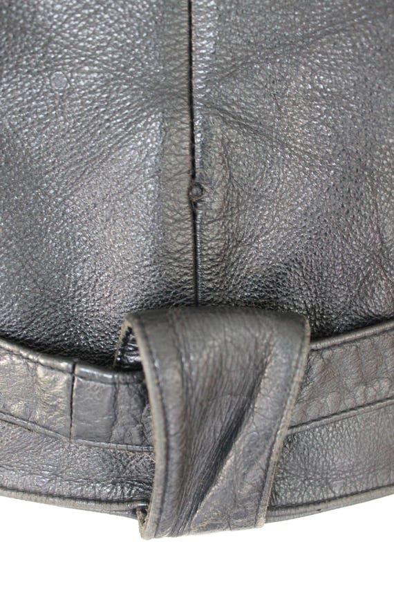 80's Leather Jacket    80's Black Fringed Leather… - image 6