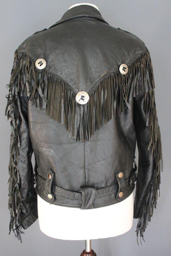 80's Leather Jacket    80's Black Fringed Leather… - image 5